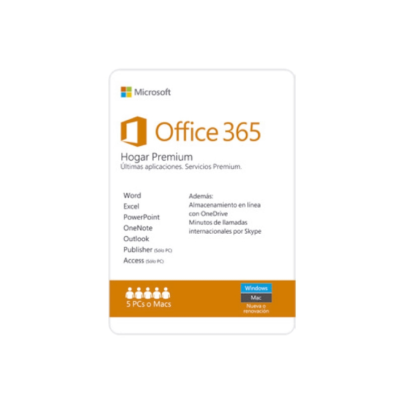 MICROSOFT OFFICE 365 HOGAR PREMIUN 6GHQ 00088